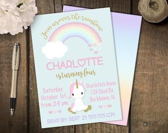 Rainbow Unicorn Party  Invitation // Unicorn Birthday // Gold Sparkle Unicorn // Digital // Printed
