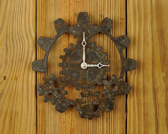 Industrial Gear Wall Clock - Steampunk- Tarnished Bronze Finish