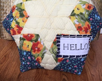 Hand Stamped Vintage Quilt Pillow