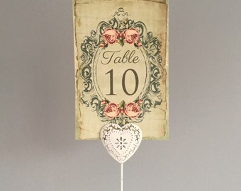 Wedding Table Number Card, Name Cards. Vintage style shabby chic centrepiece, rose flower frame