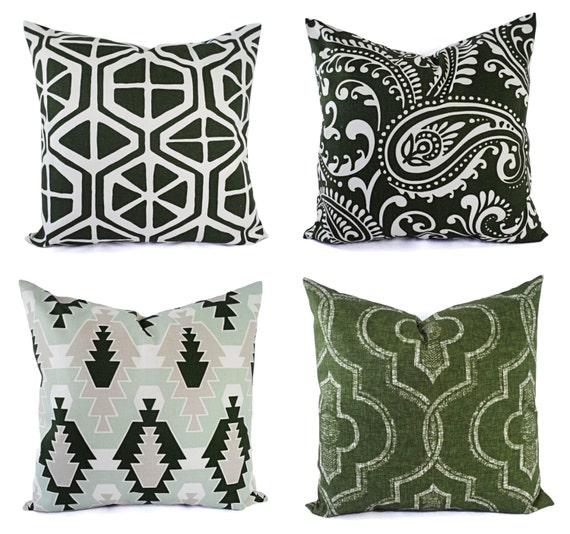 pillow cover dark green pillow cover forest by castawaycovedecor. Black Bedroom Furniture Sets. Home Design Ideas