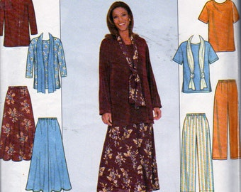 Simplicity 8226, Misses Size 18 to 24, Pull On Flared Gored Skirt, Pull On Wide Leg Pants, Pullover Top Round Neckline and Scarf Pattern