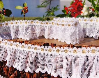 "2-1/8"" wide Vintage Gold Metallic Pure White Ruffled Lace Trim - White Ruffled Lace Trim by the Yard Sewing Lace Trims Wholesale #55"