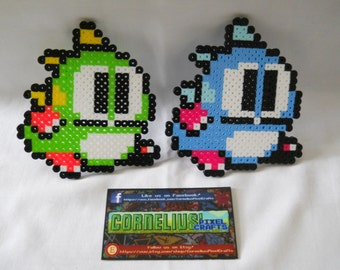 Bubble Bobble - Bubble Bobble 2 Colorized Bob and Bub Perler Sprites