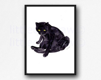 Cat Print - Just Chilling Watercolor Print Art Print Wall Art Cat Lover Gifts Art Print