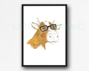 Geeky Cow Print Cool Nerd Wearing Glasses Cow Watercolor Painting Unframed Animal Art Print Littlecatdraw