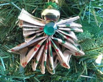 Christmas Ornament, Burlap Christmas Print Ribbon Angel