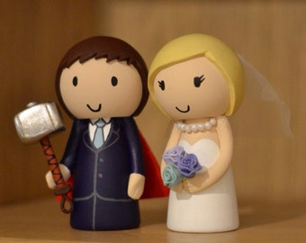Marvel Thor inspired Wedding Cake Topper Custom Made to Order Groom and Bride