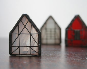 3 Miniature Houses, Collectible Gift, Stained Glass House, northern style, Old Europe House, Souvenir, Architecture