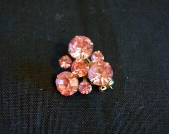 Beautiful Vintage Pink Rhinestone Brooch