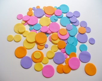 100 FONDANT DOTS CIRCLES in 3 sizes Cake Cupcake Decorations
