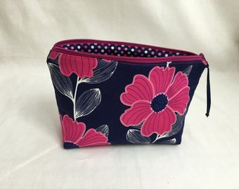 Hot Pink & Navy Floral Zipper Gadget Bag, Cosmetic Bag, Jewelery Bag, Clutch Bag