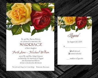 Wedding Invitation & RSVP Card Yellow Red Rose