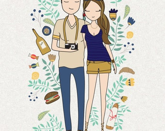 Custom family portrait, personalized portrait illustration, couple illustration, wedding couple illustration, family draw,
