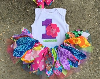 Purple Luau outfit, Hawaiian birthday Outfit - personalized - shabby chic outfit, summer birthday outfit