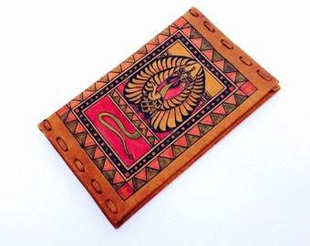 70s hand stitched leather wallet / distressed red gold tribal ikat print / bohemian billfold