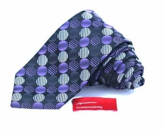 Tie (3 inch wide) in Purple Silver Black Charcoal Dots