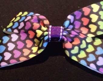Rainbow hearts print boutique bow
