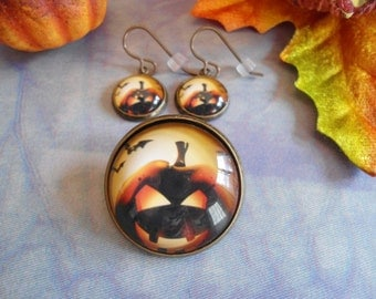 Glowing Jack O'Lantern  brooch and Vintaj hook earrings set