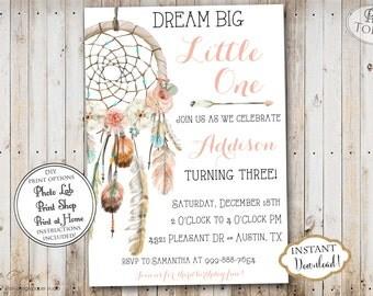 INSTANT DOWNLOAD - Wild One Dream Catcher Dreamcatcher Tribal Birthday Party Invitation - Pow Wow Aztec Feather Birthday - Arrows Boho 0334