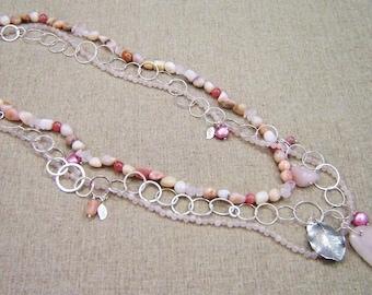 Rose Quartz Multi Strand Necklace