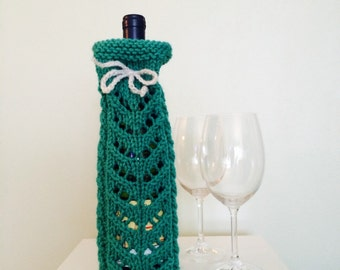 Wine Bag - Hand Knit Bag -Green Wine Bottle Sleeve - Wine Bottle Cozy - Wine Accessories - House Warming Gift - Bridal Shower Favor