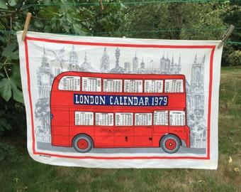 Vintage Blackstaff Calendar Linen Towel, London Calendar Tea Towel, 1979 Linen Kitchen Towel, Wall Hanging, Pure Linen Tea Towel