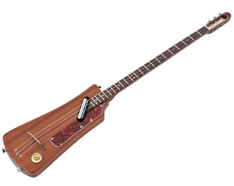 UK Handmade Electric Chromatic D-Stick/3-String Guitar by HiGuitarsUK. Satin Mahogany. NEW