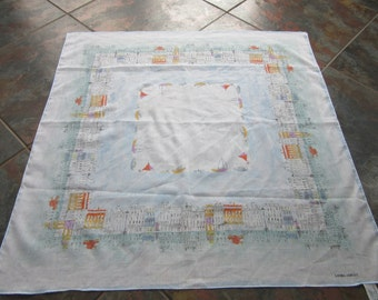 Vintage LAURA ASHLEY square cotton scarf - Houses and Boats design  Made in Italy