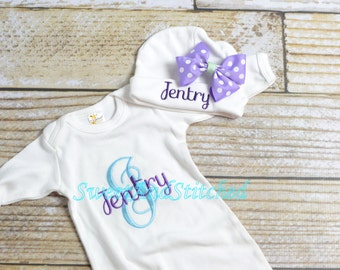 Personalized newborn gown or bodysuit, baby girl take home hospital outfit purple and aqua, newborn hat with name, monogram baby girl outfit