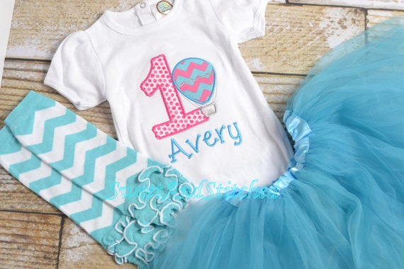 Girls 1st Birthday Hot Air Balloon Outfit - 1st Birthday Shirt - Girl's 1st 2nd 3rd 4th 5th birthday - Hot air balloon outfit