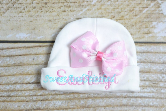 Personalized newborn hat - baby infant hat embroidered name - baby girl hat hospital with bow, monogrammed baby hat, personalized infant
