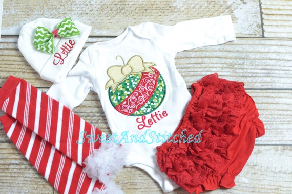 Personalized Baby girl Christmas outfit - baby girl christmas Shirt - christmas leg warmers and christmas hat with name!