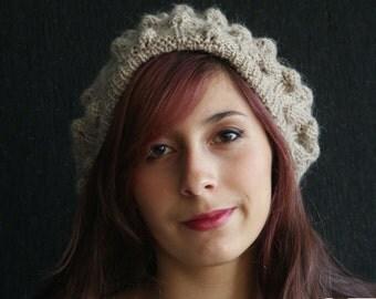 Exclusive Warm beret, bonnet, hat, cap, beanie, Hand Knitted, Hand Made, Alpaca wool, Ideal Christmas, beige, ecrue, pompon