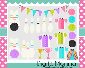 Bowling Party Clipart Set, Bowling Birthday Party Clipart, Instant Download!