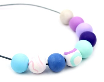 Blue Mint and Lilac Necklace, Statement Bead Necklace, Chunky Bead Necklace, Big Bead Necklace, Violet Blue and Mint Necklace, Blue Necklace