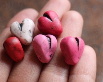 Handmade mixed set of colorful polymer clay love heart art beads, pink and red, light pink, shimmering ruby, blood red heart, folk art beads