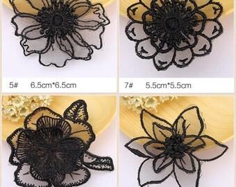 10 pcs black lace patch sew-on Applique, garment DIY accessory #2375