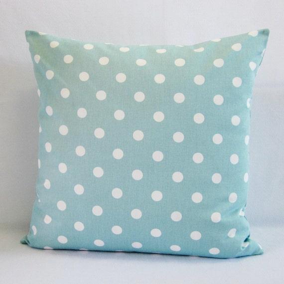 Aqua Seafoam Polka Dot Pillow Cover Decorative Throw Seafoam
