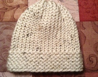 Cream Tan Knit Beanie Hat Child Tweens Teens Adult Made to Order Handmade