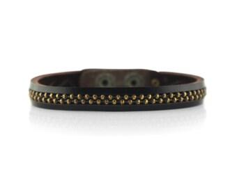 Mens Oxidized Brass Leather Bracelet in Chocolate, Mens Brass Snap Bracelet, Presh Bracelet, Mens Chocolate Bracelet, Metal Chain Bracelet