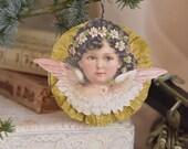 Victorian Angel Faces, Jeanne D'Arc Christmas Angel, Hanging Christmas Angel, Shabby Angel Tree Decor