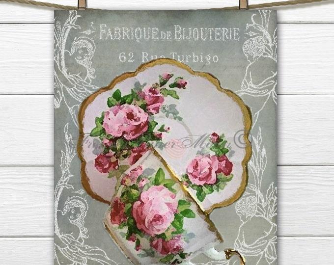 Vintage Digital Teacup, French Ephemera Teacup, Kitchen Art, Vintage French Labels, Teacup Graphic, Home Decor, Instant Digital Download
