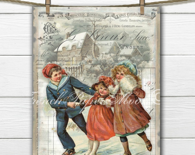 Victorian Children Ice-skating Digital Art, Shabby Chic Christmas Image, Instant Download Printable, French Digital Christmas Pillow Graphic