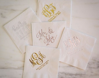 Personalized Party Napkins, Custom White Napkins, Foil Printed Personalized Napkins, Wedding Napkins, Personalized Cocktail Napkins
