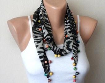 black scarf white flower brown beads  turkish yemeni  handmade chiffon fabric