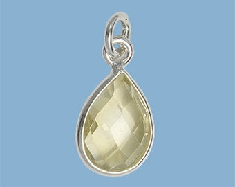 10 ea. Small 10x7mm Lemon Topaz Pear Solid Sterling Silver Bezel Pendant with 5mm Jump Ring Birthstone