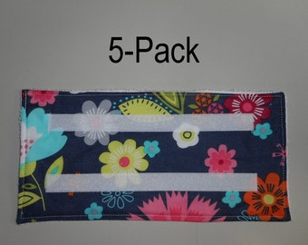 5 Washable & Reusable pads for Swiffer-type Wet Jet mops - FLOWER POWER PRINT