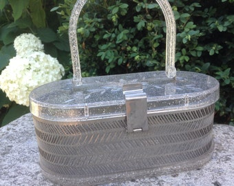 1950s Vintage Lucite Purse Clear Sparkle and Wire by MW Hand Bags