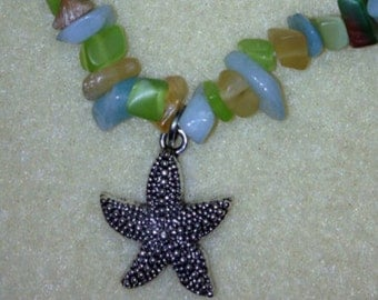 Sea glass and starfish anklet